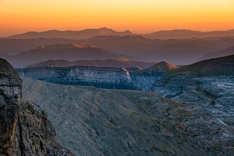 Coucher de soleil sur le canyon d'ordesa